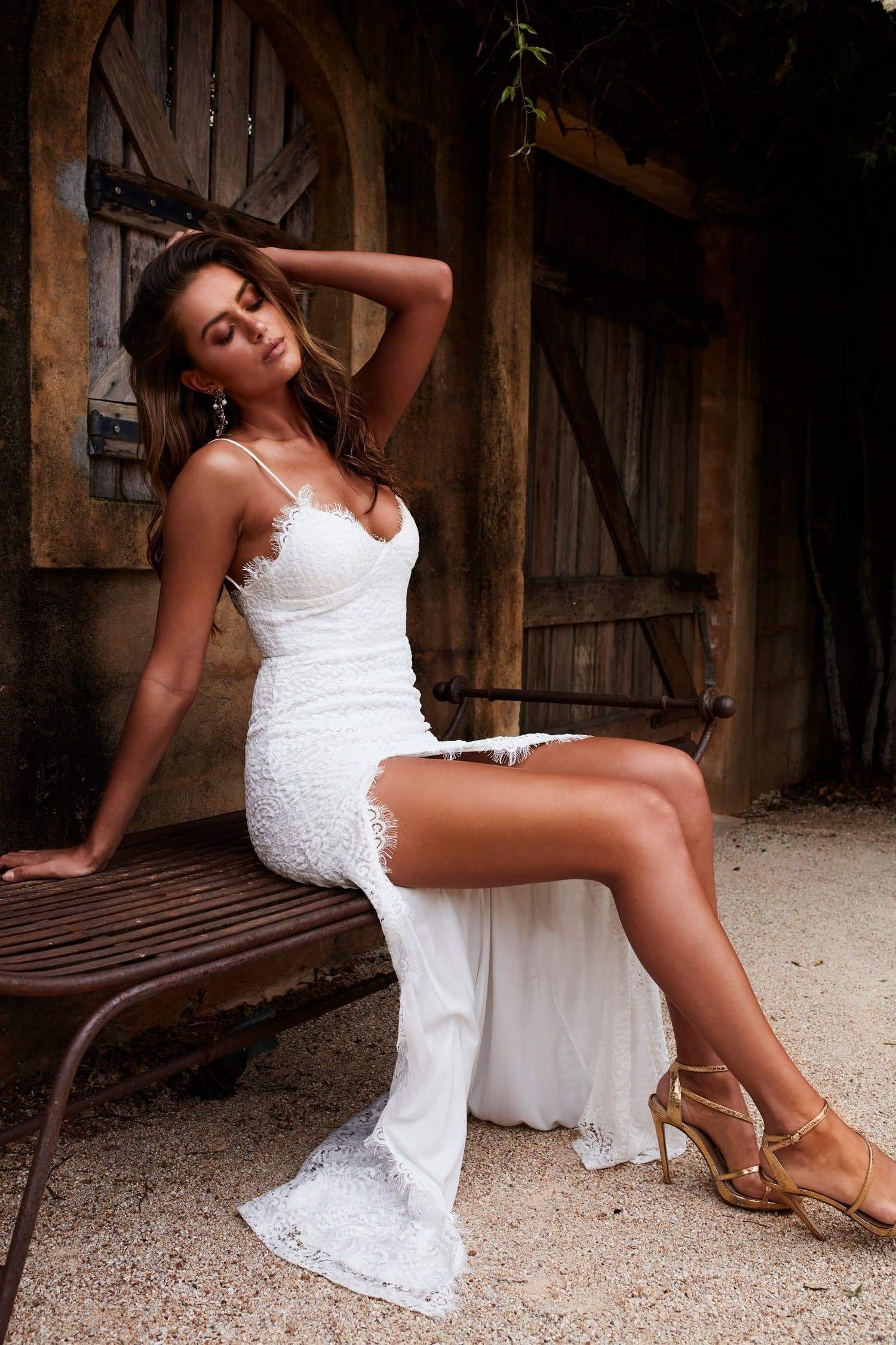 Layali - White Lace Gown with Side Slit, V Neck and Low Back
