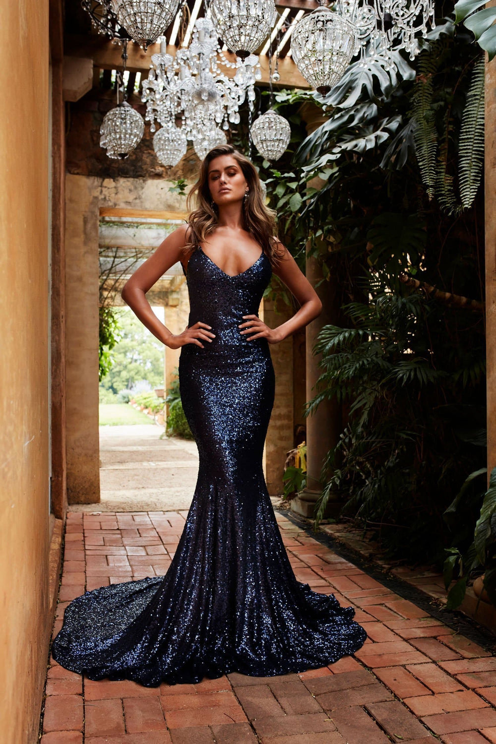 Yassmine Luxe - Navy Backless Sequin Gown with Long Mermaid Train