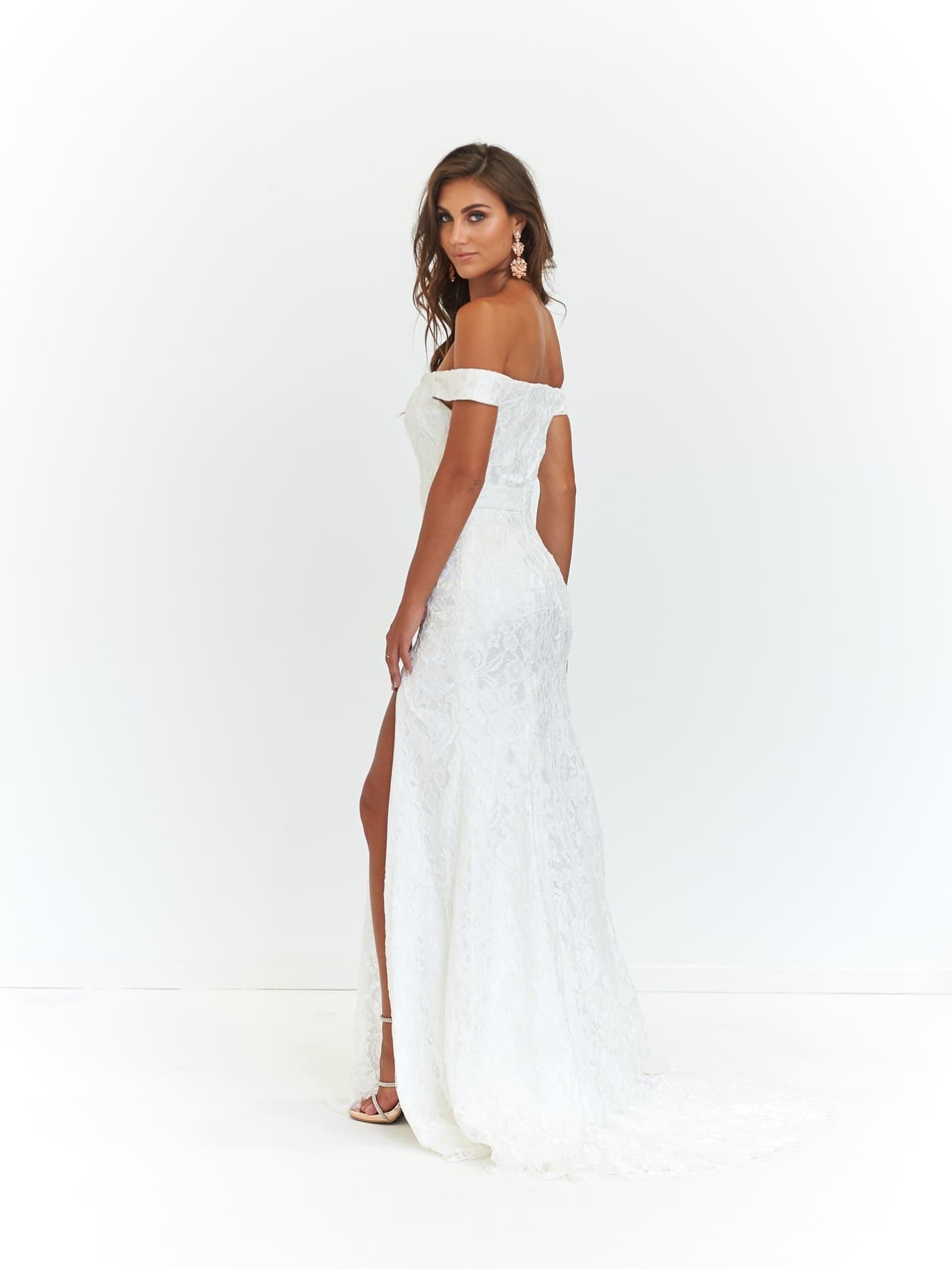 Leyla Formal Dress - White Off-Shoulder Lace Split Full Length Gown