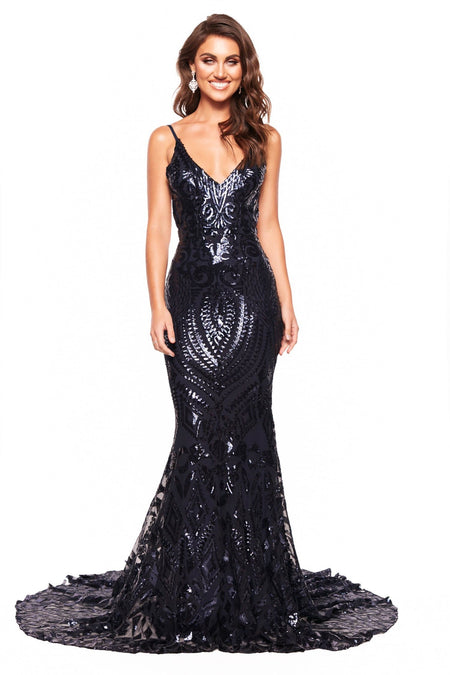 A&N Bridesmaids Crown Sequin Gown - Navy