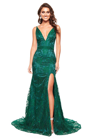 A&N Luxe Ayla - Emerald Lace Gown with V-Neck, Low Back and Side Slit
