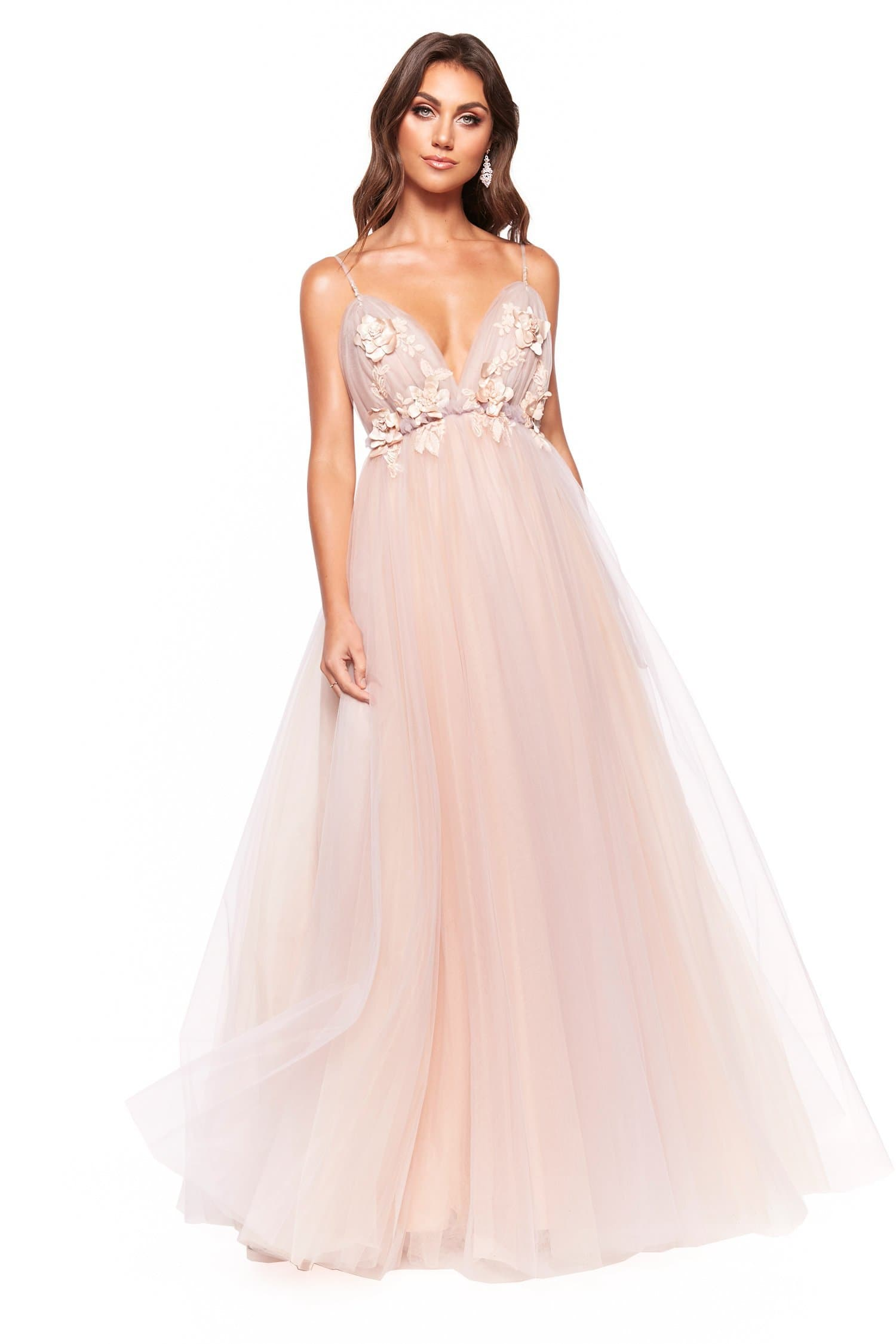 A&N Luxe Elira - Peach & Lilac Tulle Backless Gown with Floral Detail