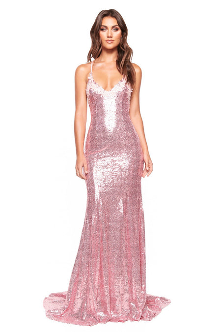 Joella Sheer Glitter Gown - Black