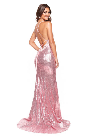 A&N Luxe Maddison - Pink Sequin Mermaid Gown with Floral Detailing