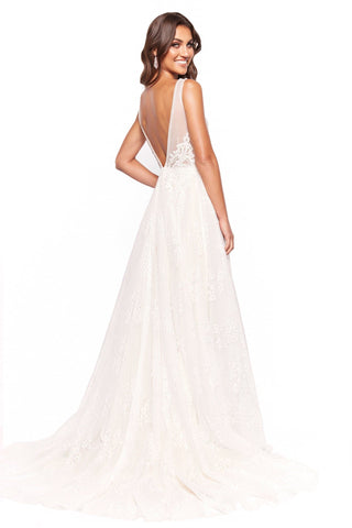 A&N Mira - A Line Tulle Bridal Gown with Plunging Neckline