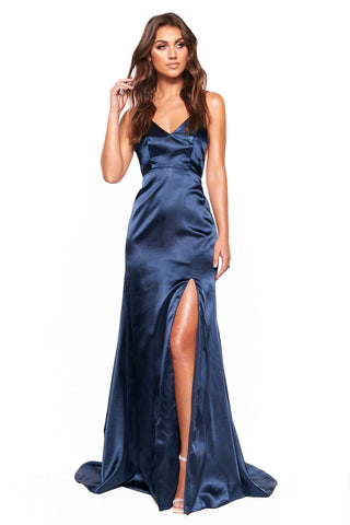 A&N Luxe Inka - Navy Satin Low Back Gown with V-Neck and Side Slit