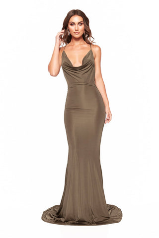 Antonia - Olive Jersey Gown with Cowl Neckline and Mermaid Train