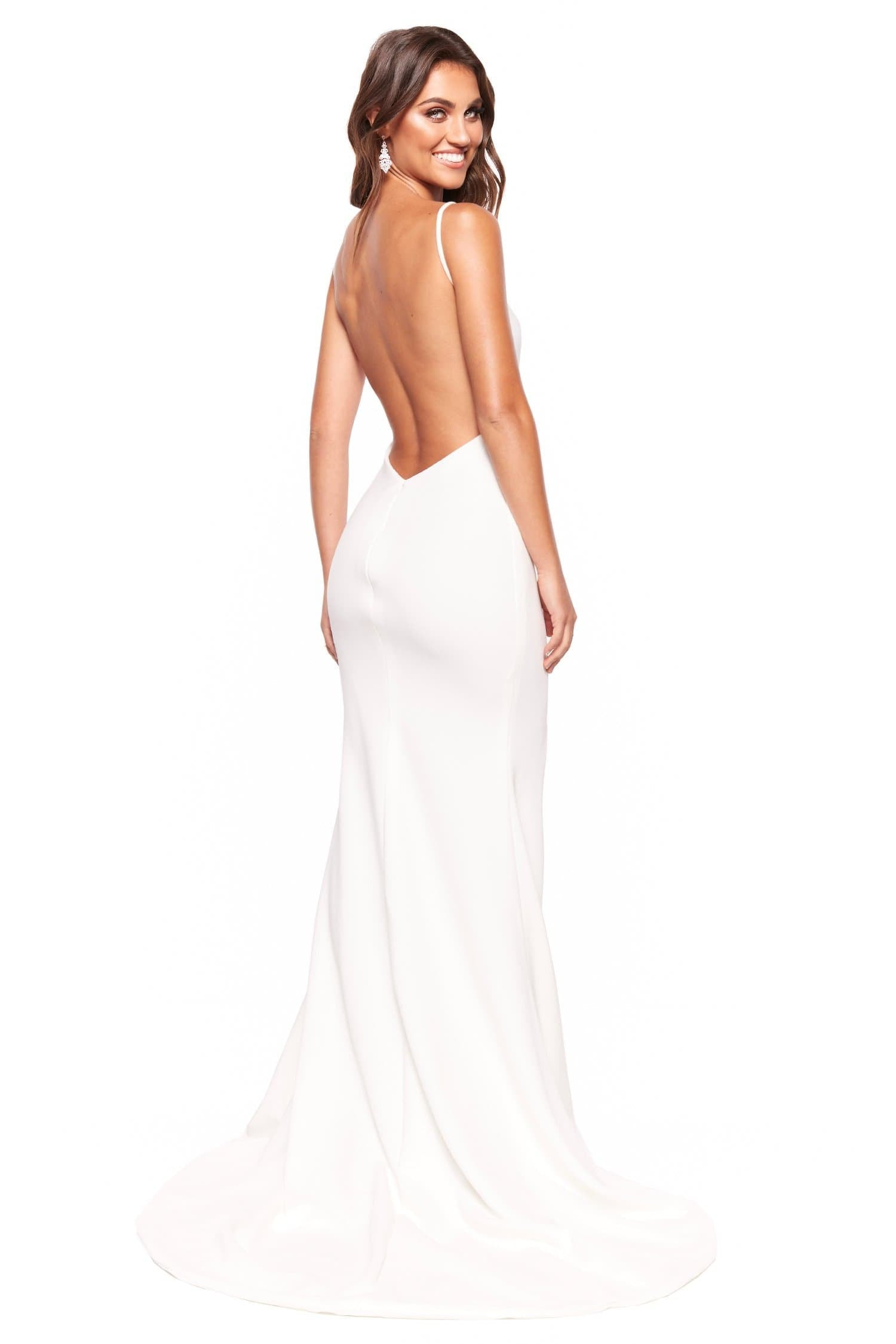 A&N Luxe April - White Low Back Ponti Gown with Slit