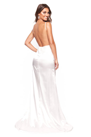 A&N Luxe Inka - White Satin Low Back Gown with V-Neck and Side Slit