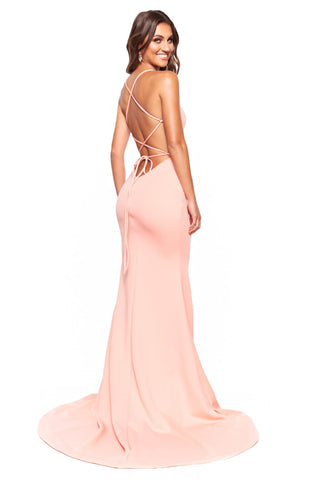 A&N Luxe Chiara - Peach Gown with Side Slit & Lace-Up Back