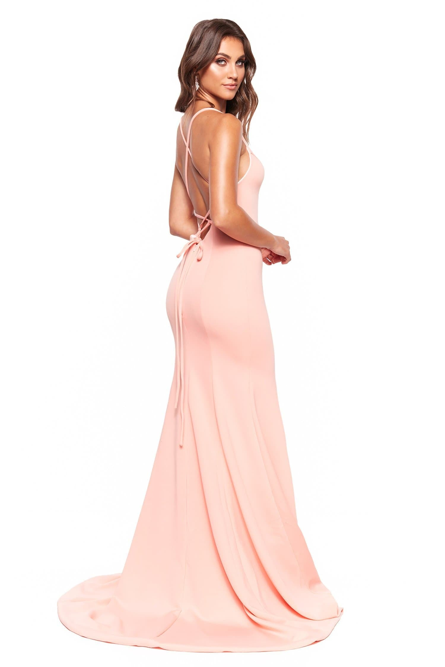 A&N Luxe Emilie - Peach Gown with V-Neck, Lace-Up Back & Side slit