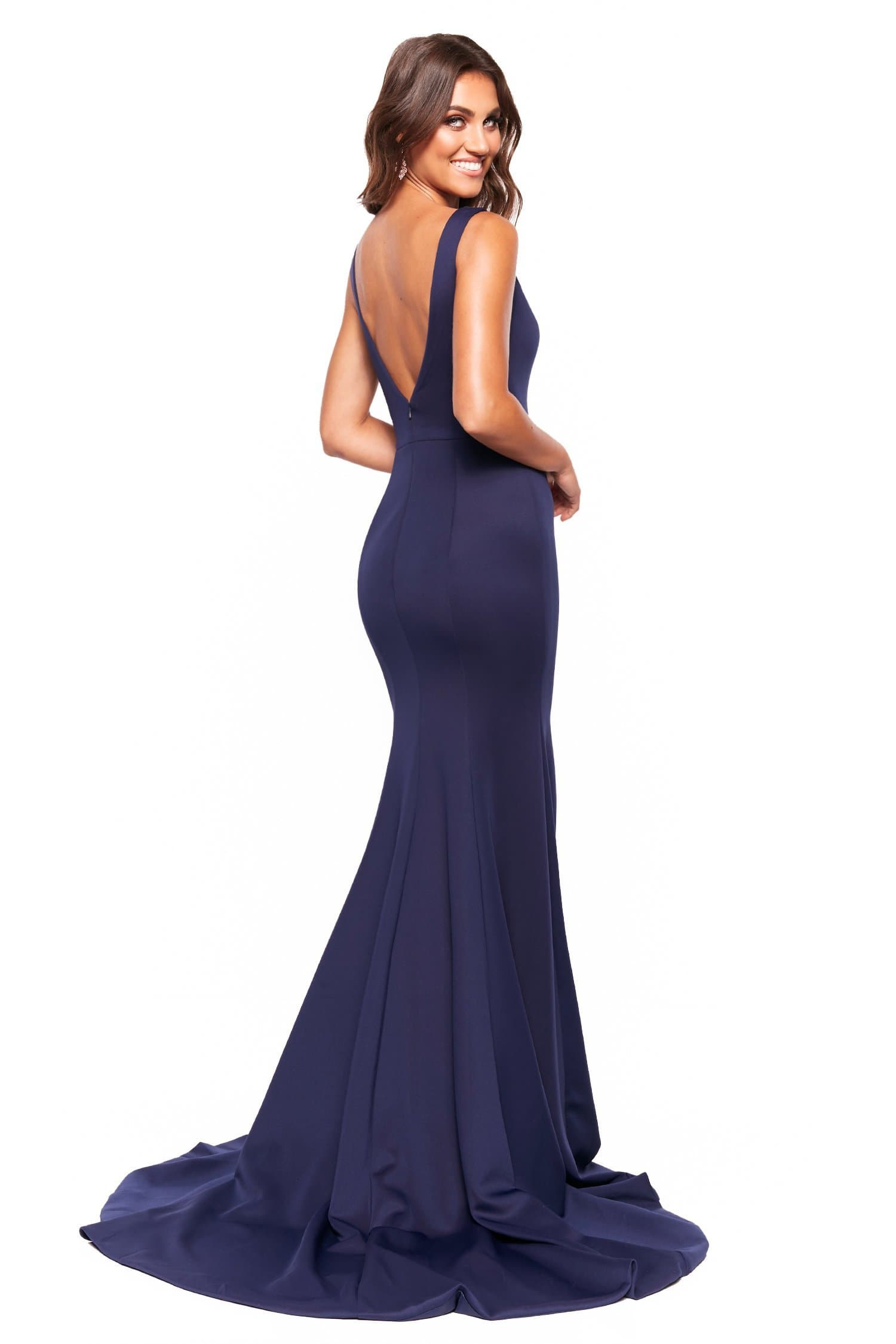 A&N Luxe Makayla - Navy V-Neck Open Back Mermaid Gown
