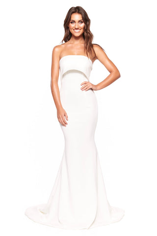 A&N Luxe Lola - White Strapless Mermaid Gown with Train
