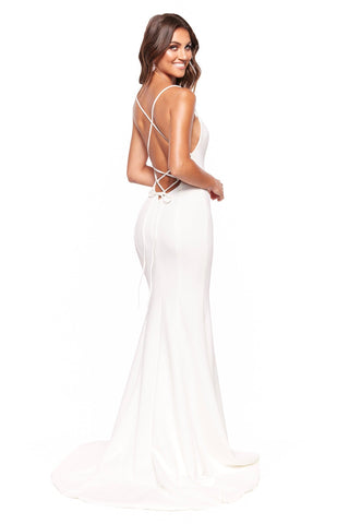 A&N Luxe Amira - White Gown with Straight Neckline & Lace-Up Back