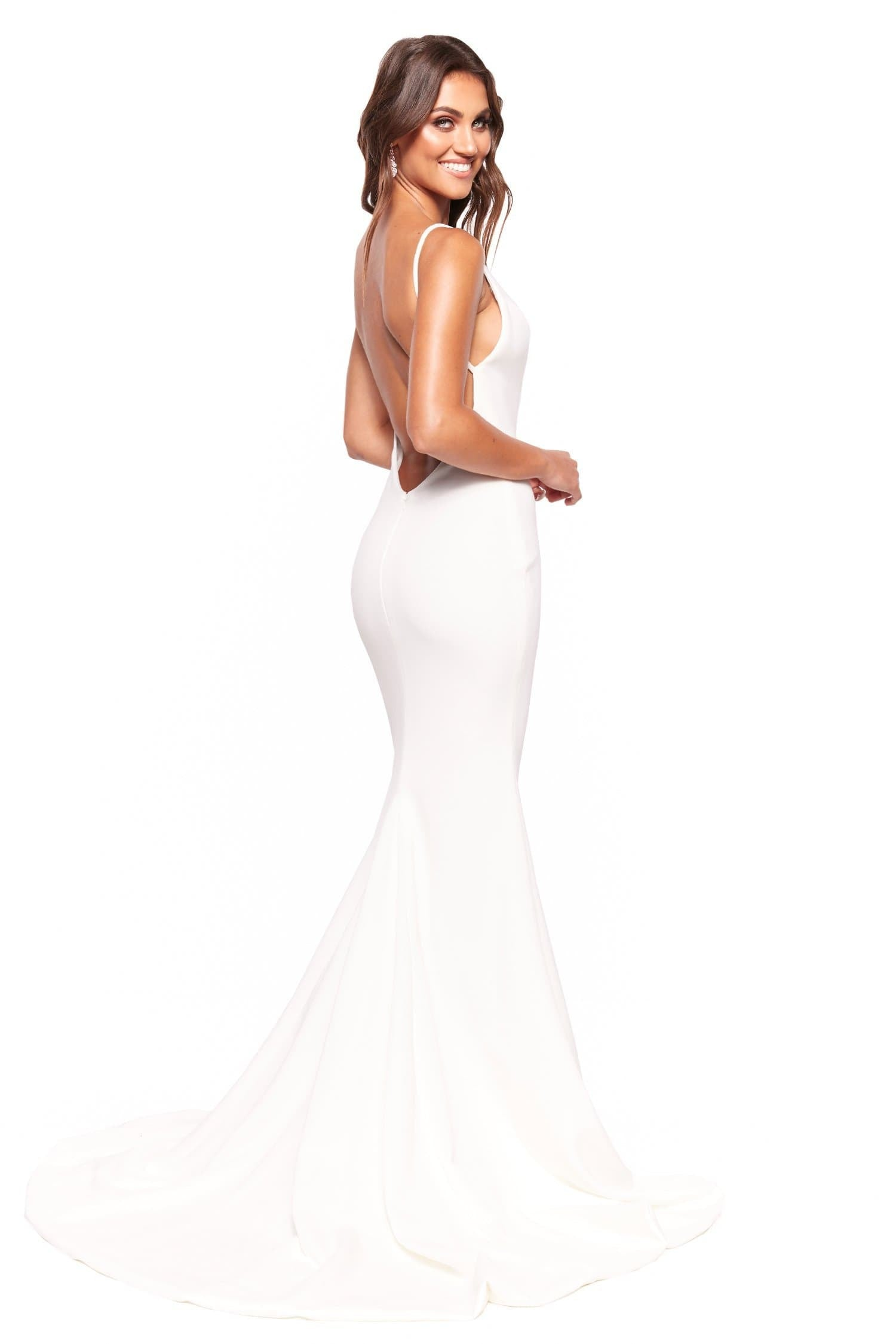 A&N Luxe Jada - White Plunge Neck Low Back Mermaid Ponti Gown