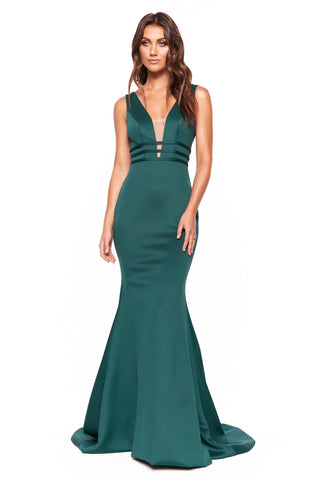A&N Luxe Alana - Emerald Plunge Neck Open Back Mermaid Gown