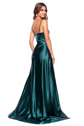 A&N Vanessa - Emerald Satin Gown With Mermaid Train and Slit