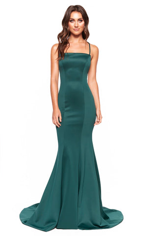 A&N Luxe Amira - Emerald Gown with Straight Neckline & Lace-Up Back