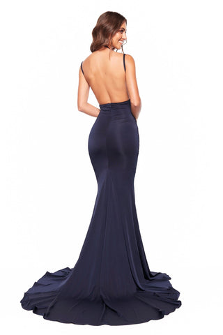Orlena - Navy Jersey Gown with Plunging Neckline and Open Back