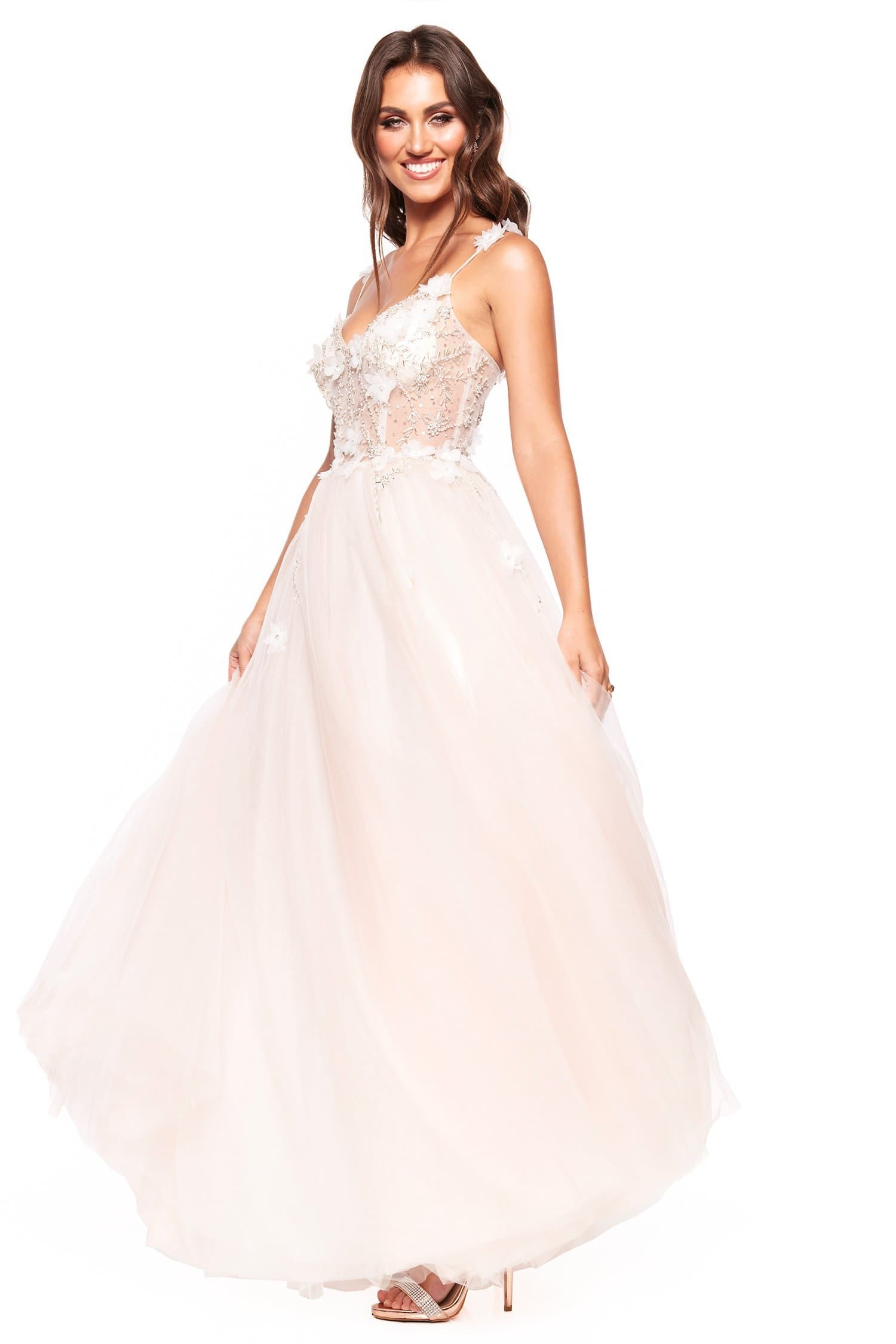 A&N Luxe Jasmine - Peachy White Beaded Tulle Gown with Detailed Bodice