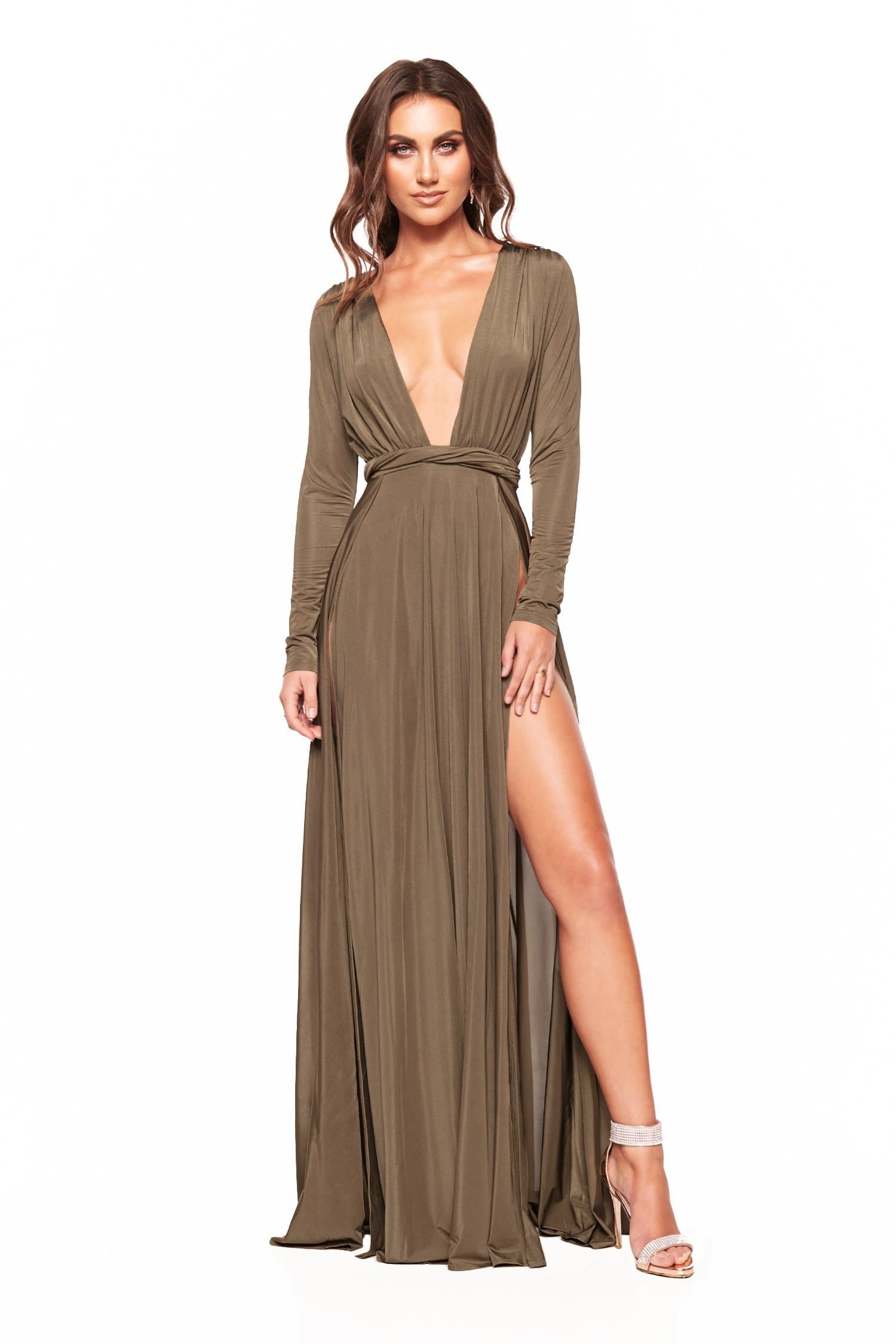 0c91d2ab9274 Sahara - Olive Long Sleeved Gown with Thigh-High Slits & Plunge Neck ...