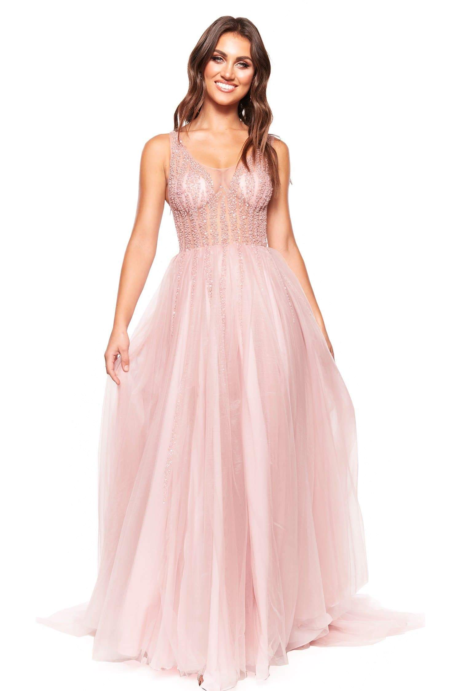 A&N Luxe Rosie - Pink Tulle Gown with Sheer Beaded Bodice