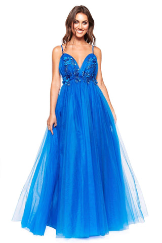 A&N Luxe Elira - Royal Blue Tulle Backless Gown with Floral Detail