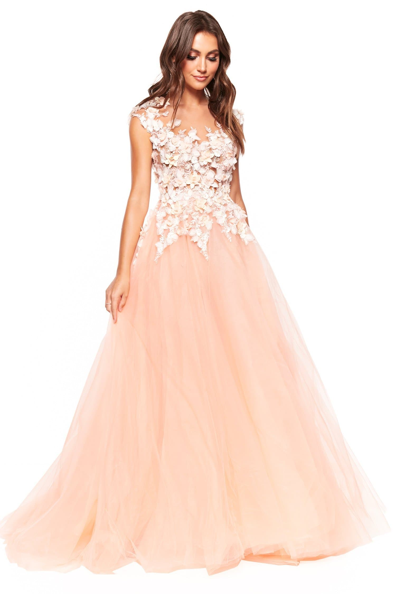 A&N Luxe Ivelina - Peach Tulle Gown with Detailed Floral Bodice