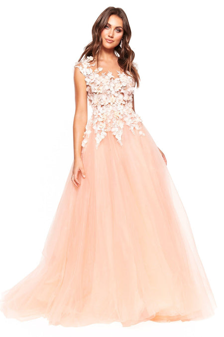 A&N Bridesmaids Marina Tulle Gown - Blush
