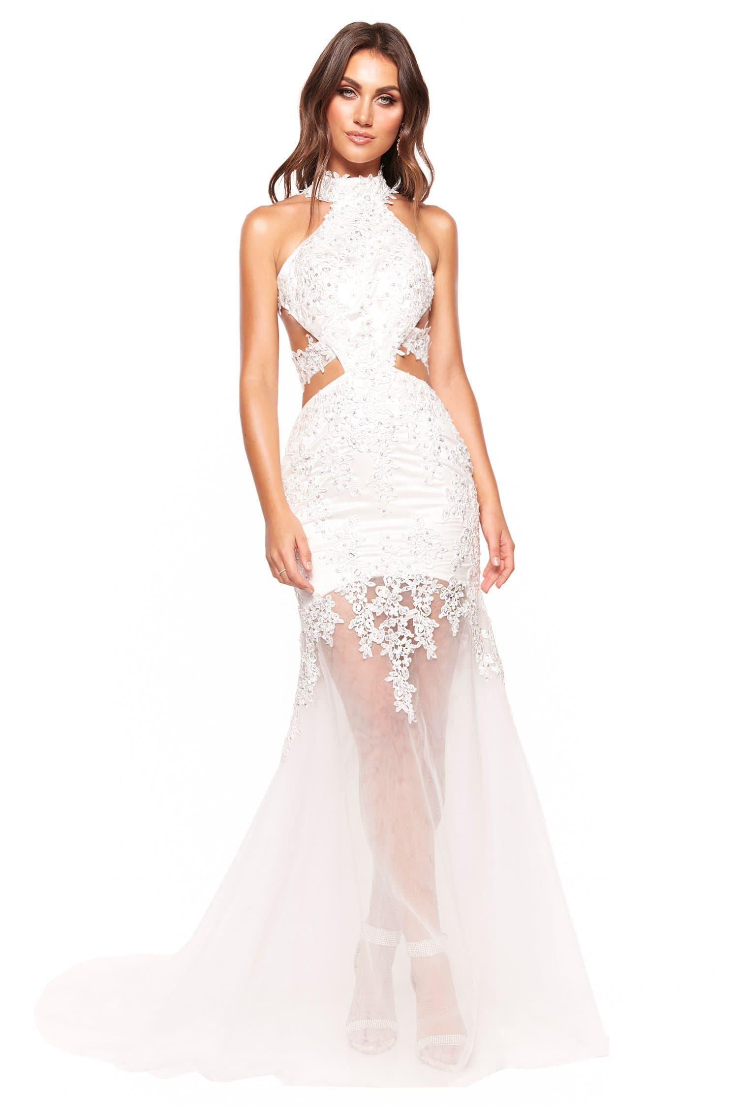 A&N Luxe Ximena - White Beaded Gown with Side Cut Outs and Halter Neck