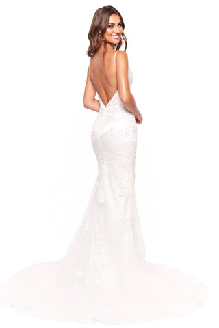 A&N Luxe Cherie - White Beaded Gown with Plunge Neck & Side Slit