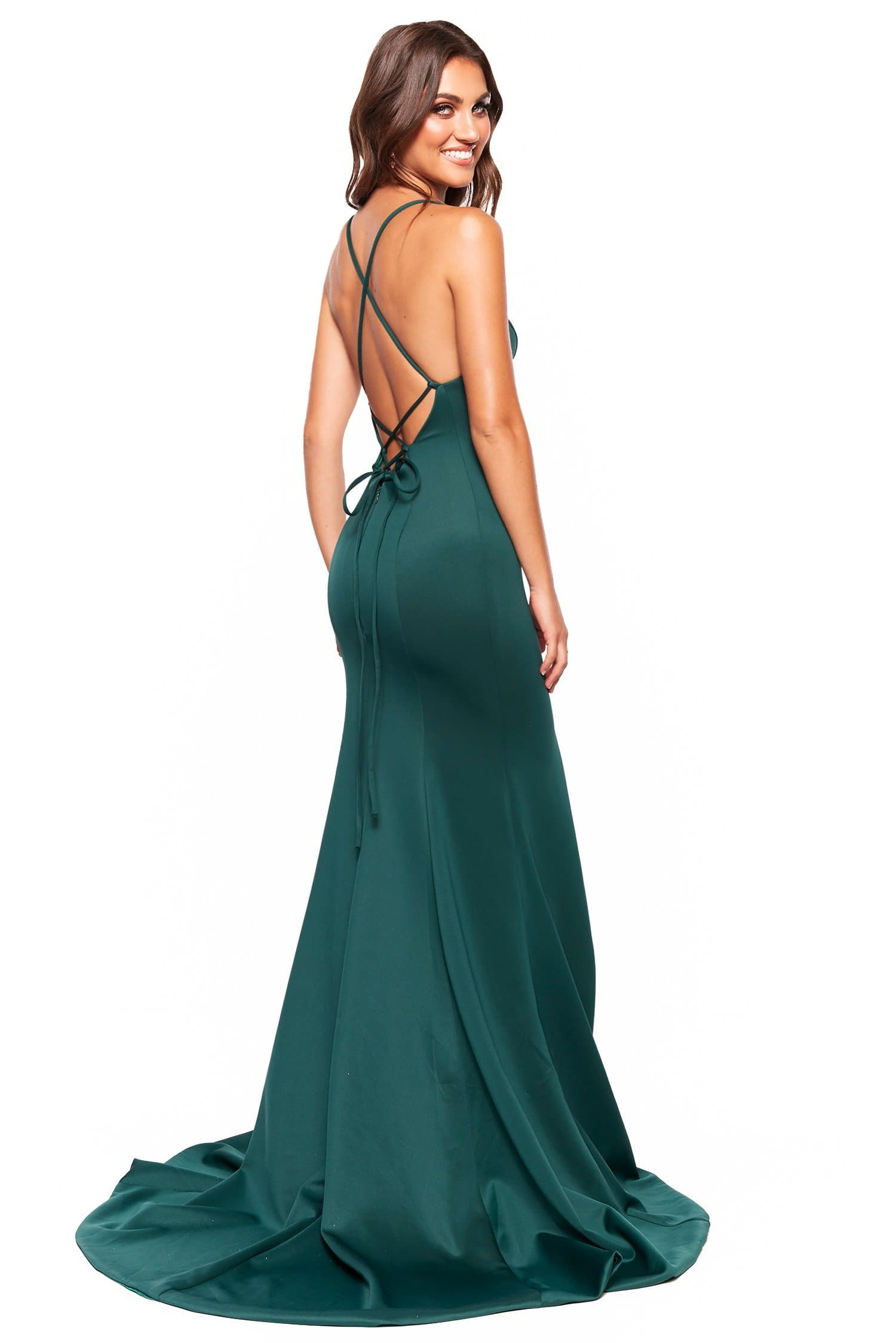 A&N Luxe Emilie - Emerald Gown with V-Neck, Lace-Up Back & Side slit