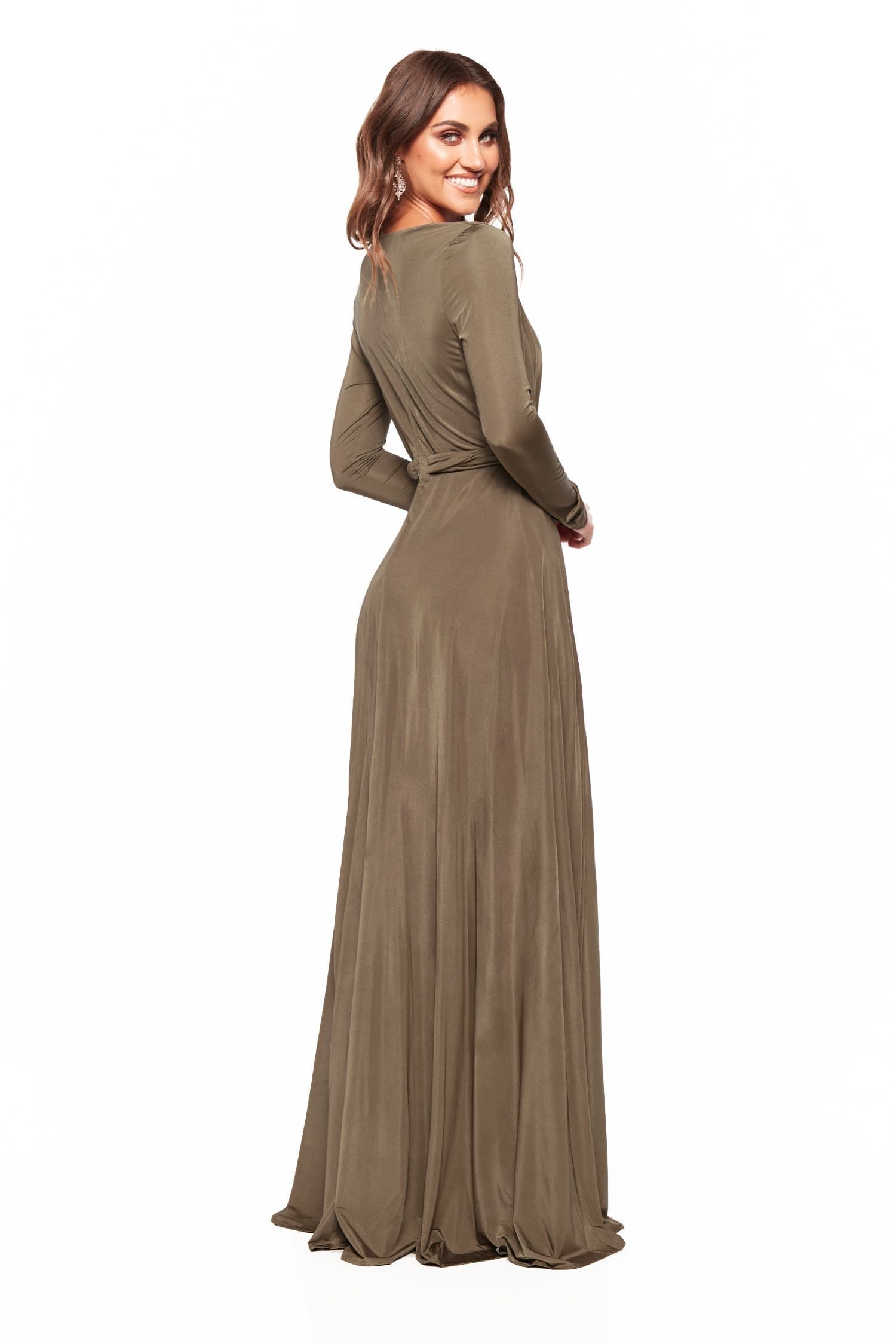594629b72b55 ... Sahara - Olive Long Sleeved Gown with Thigh-High Slits & Plunge Neck ...