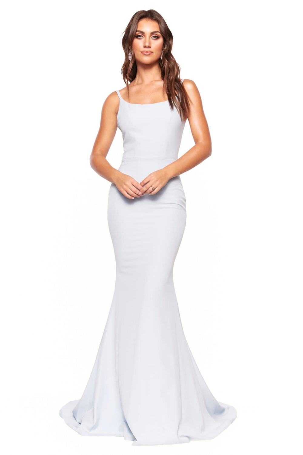 A&N Luxe Imani - Sky Blue Mermaid Ponti Gown with Thin Straps