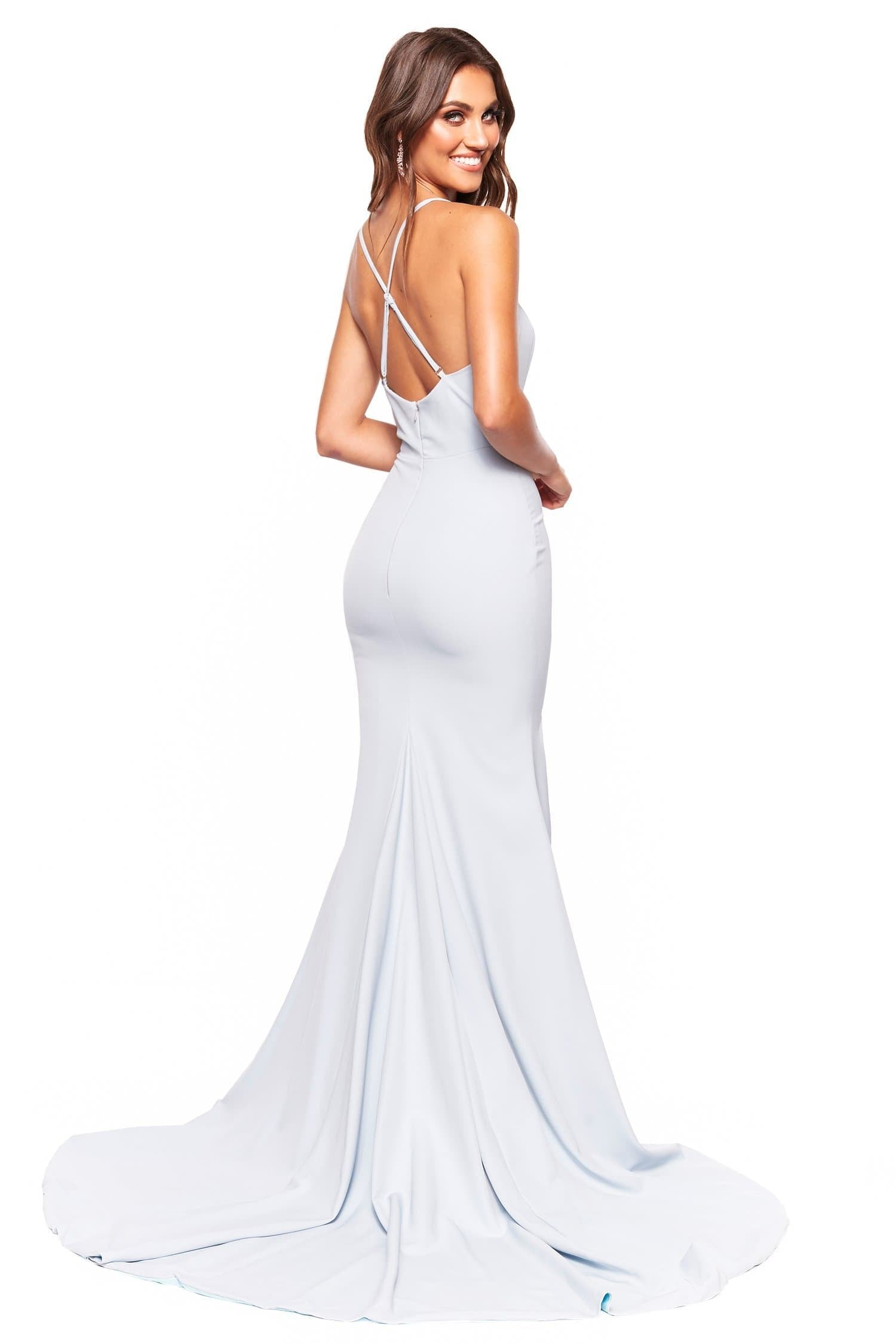 A&N Luxe Celine - Sky Blue Gown with Plunge Neck & Side Slit