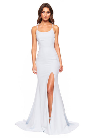 A&N Luxe Chiara - Sky Blue Gown with Side Slit & Lace-Up Back