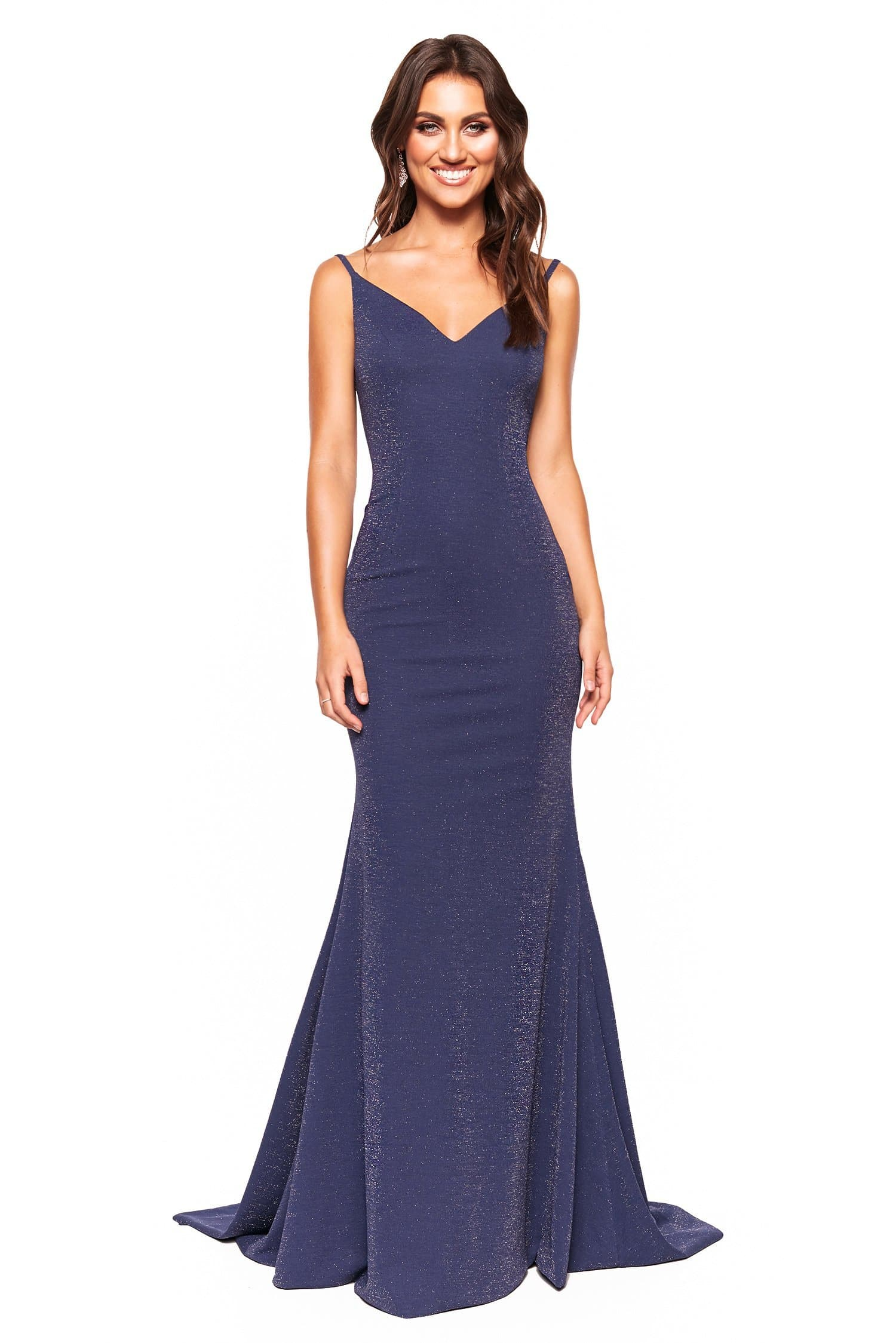 A&N Luxe Pia - Navy Shimmering Mermaid V-Neck Backless Gown