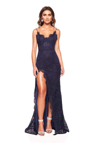 Layali - Sleeveless Navy Lace Gown with Side Slit, V Neck & Open Back
