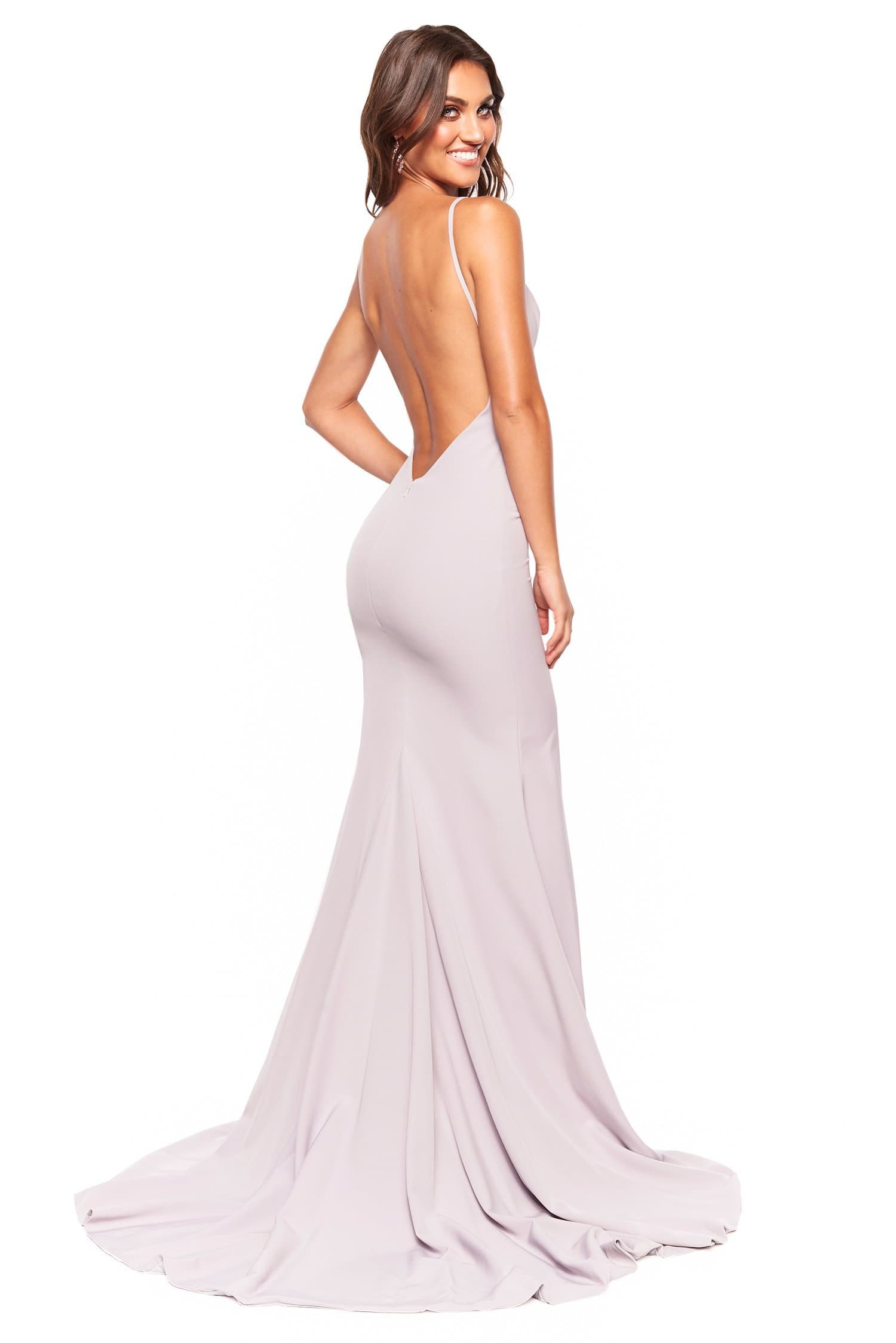 A&N Luxe Hannah - Grey Lilac Plunge Neck Low Back Gown With Slit