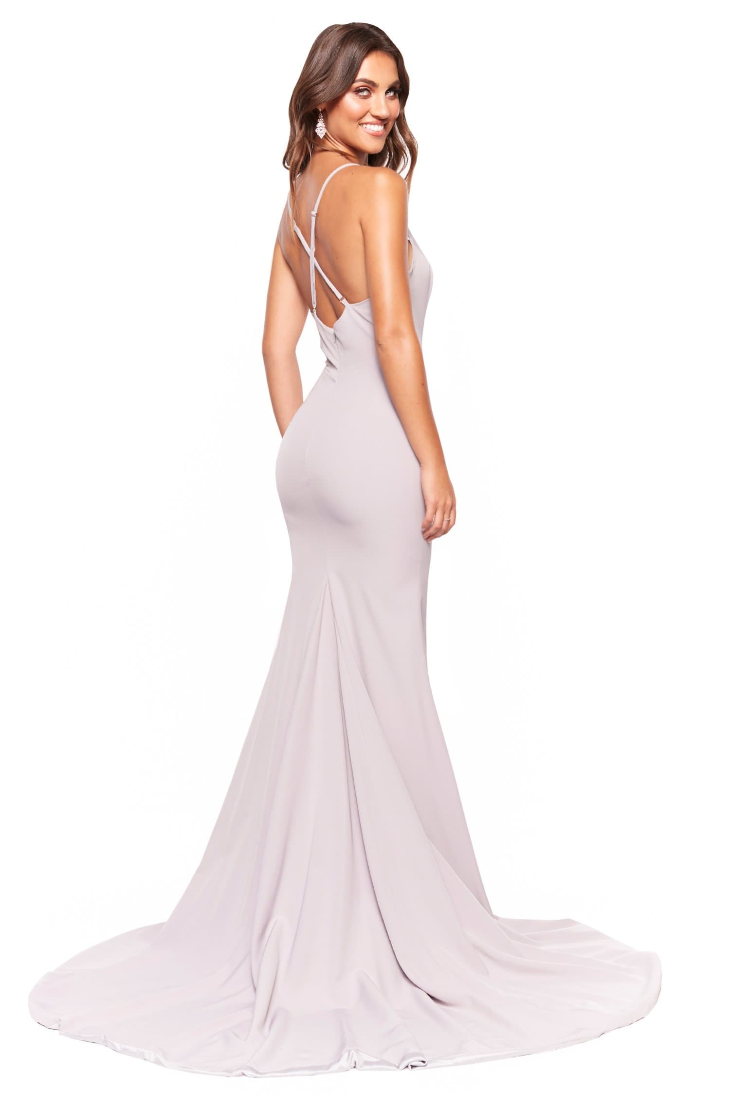 A&N Luxe Celine - Grey Lilac Gown with Plunge Neck & Side Slit