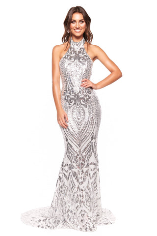 A&N Luxe Inaya - Silver Halterneck Patterned Sequin Gown with Low Back