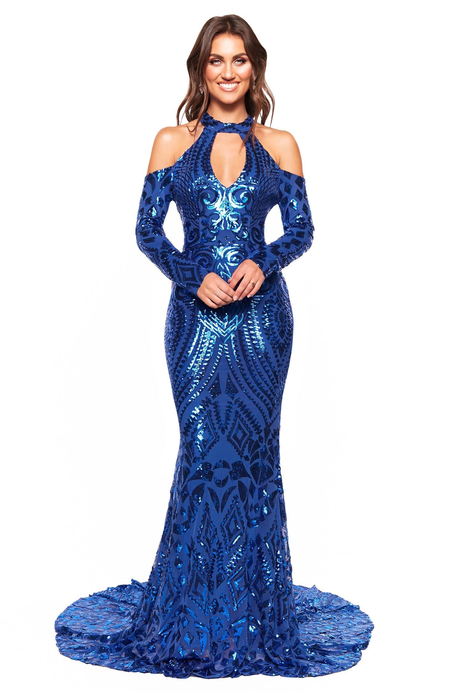 A&N Luxe Sierra - Royal Blue Patterned Sequin Gown with Cut Outs