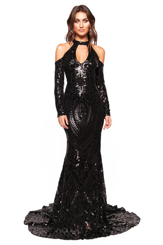 A&N Luxe Sierra - Black Patterned Sequin Gown with Cut Outs