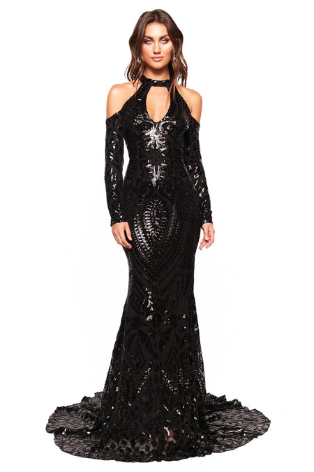 A&N Curve Kaya Sequin Gown - Red