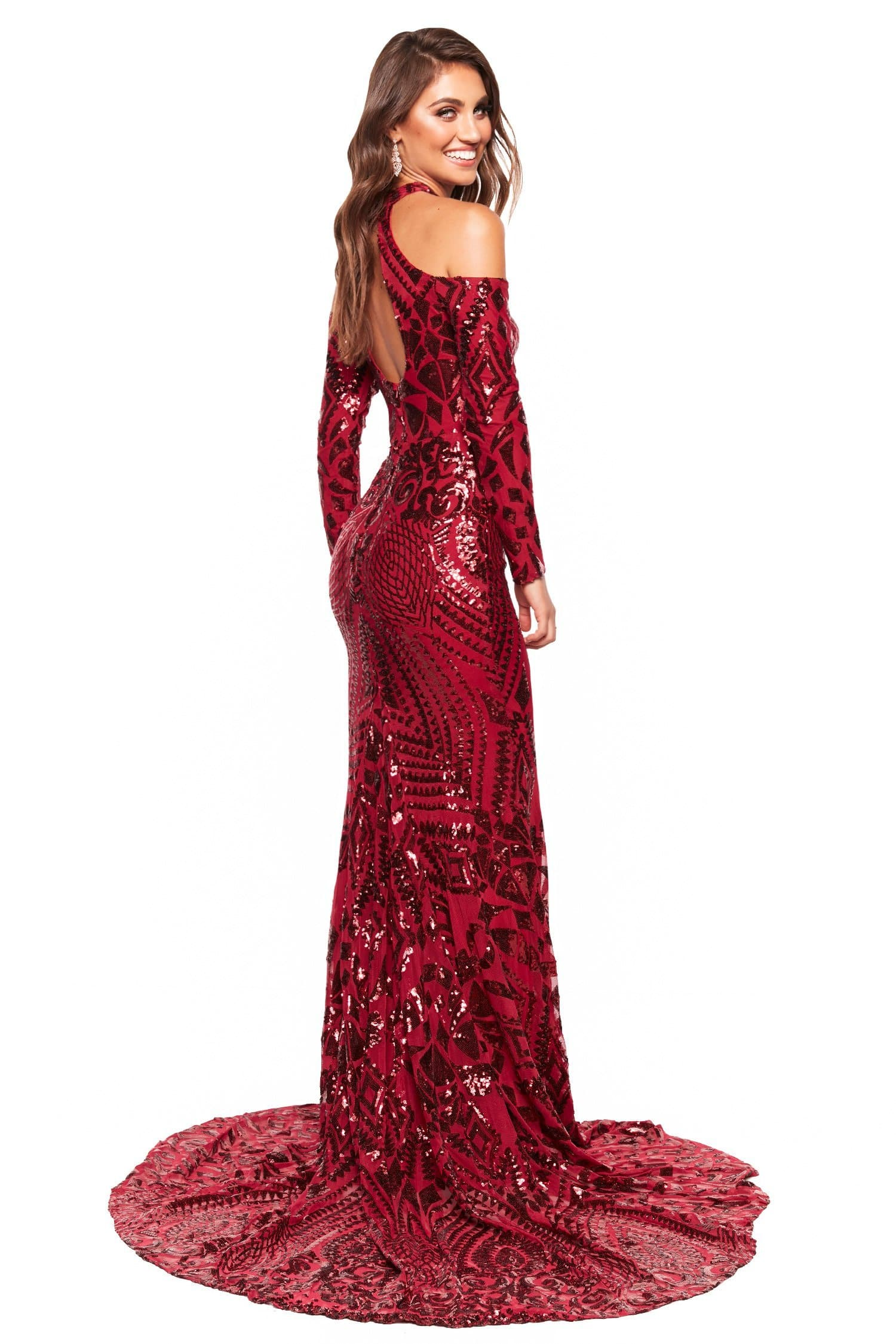 A&N Luxe Sierra - Burgundy Patterned Sequin Gown with Cut Outs