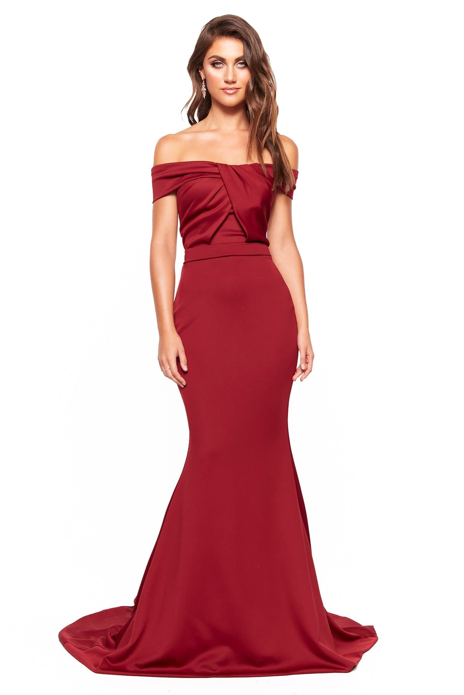 A&N Luxe Myra - Burgundy Off Shoulder Gown with Mermaid Silhouette