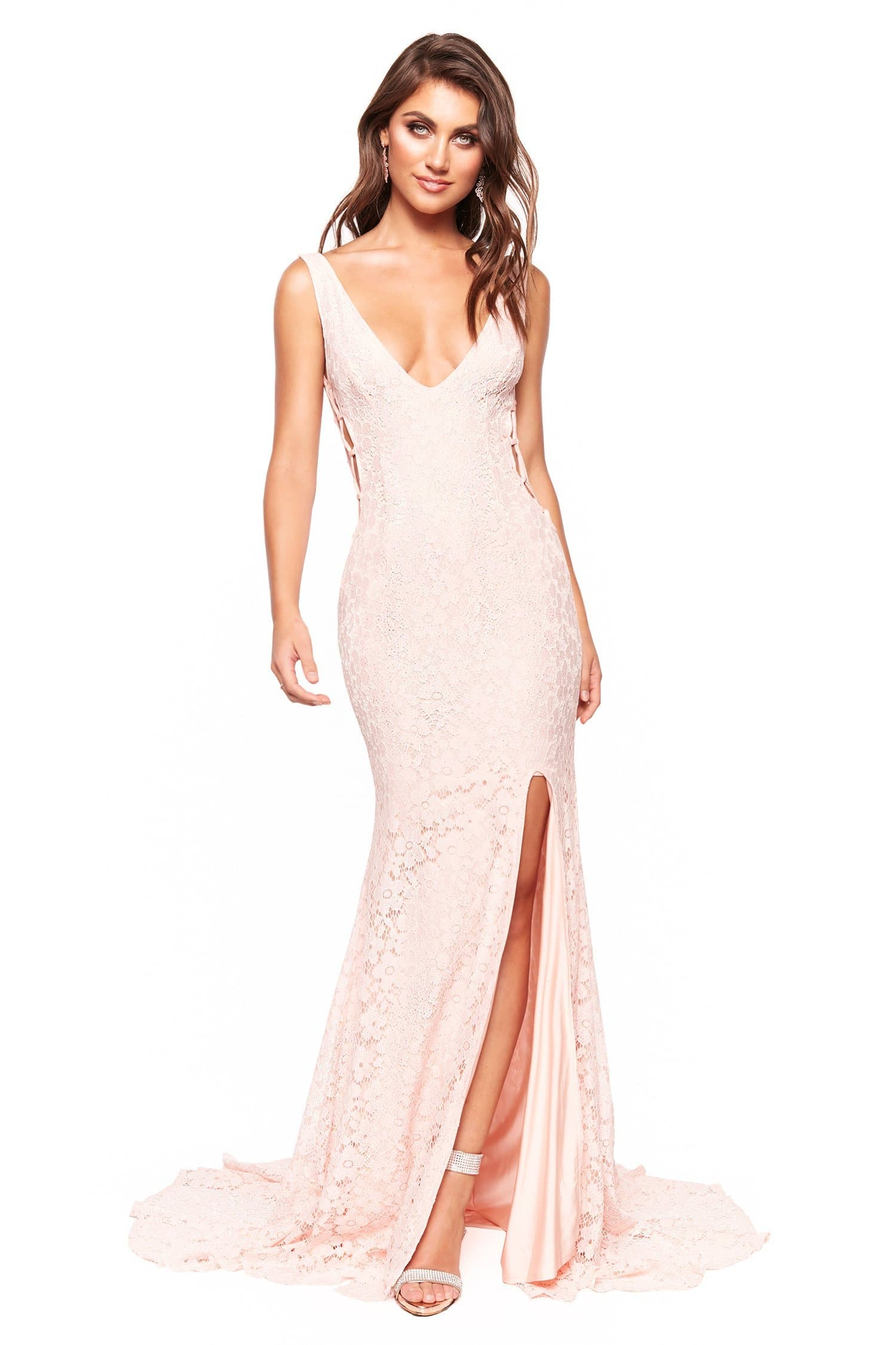 Lorena - Blush Shimmering Low Back Lace Gown with Criss-Cross Side