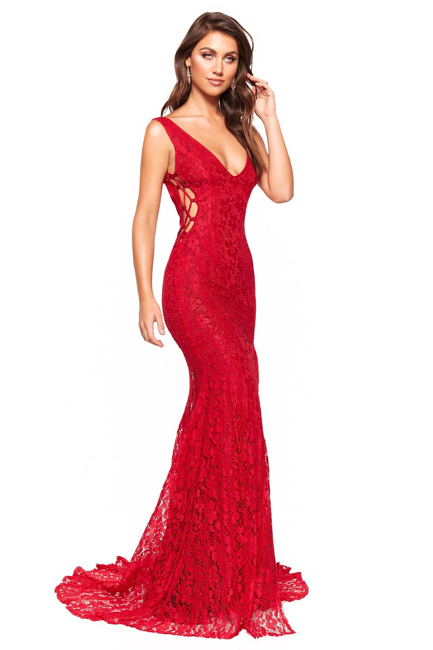 Lorena - Red Shimmering Low Back Lace Gown with Criss-Cross Side