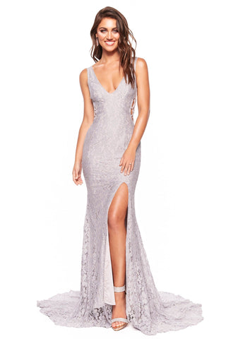 Lorena -Grey Lilac Shimmering Low Back Lace Gown with Criss-Cross Side