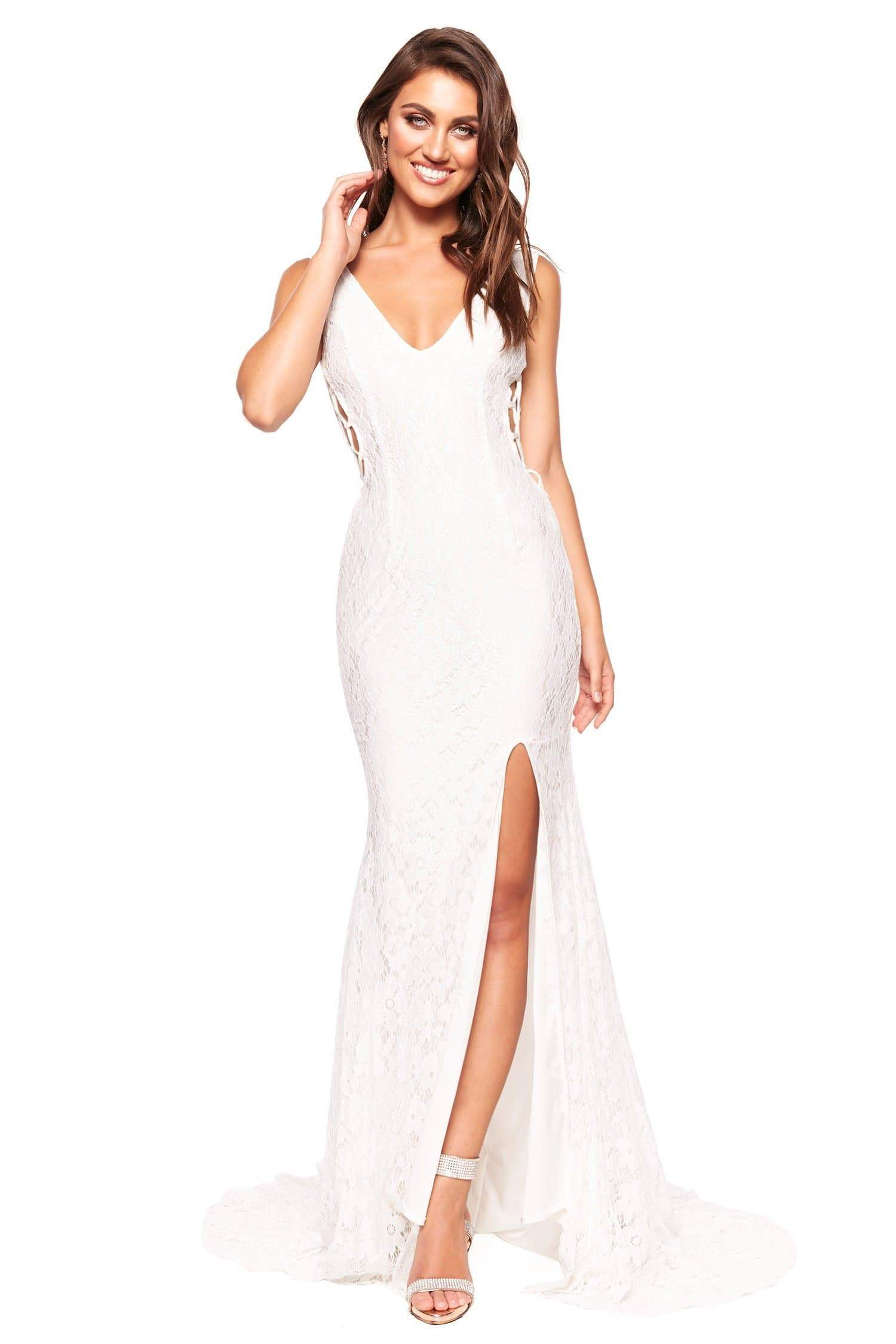 Lorena - White Shimmering Low Back Lace Gown with Criss-Cross Side